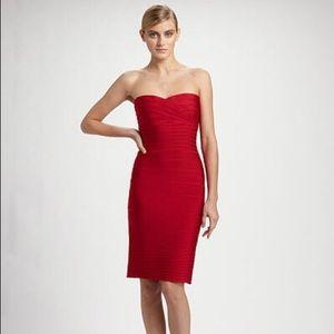 Herve Leger Strapless Red Iconic Bandage Dress